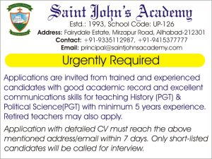 Requirement for History(PGT) and Political Science (PGT) teachers
